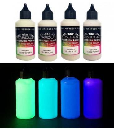 Série Glow – 4 tintas fosforescentes Acrílicas-PU para aerógrafo